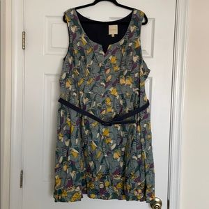 ModCloth Plus Size Bird and Mushroom Print Dress